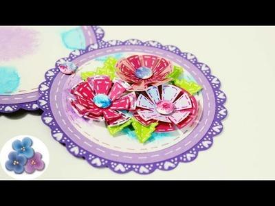 Como Hacer una Tarjeta Telecópica con Flores de Papel DIY scrapbooking Tutorial Pintura Facil