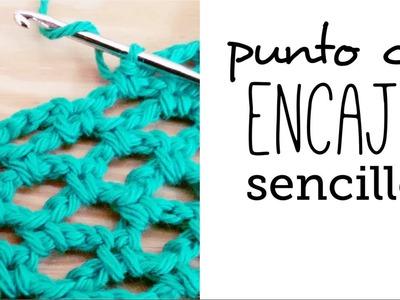 Cómo tejer PUNTO de ENCAJE (red o calado) sencillo a Crochet