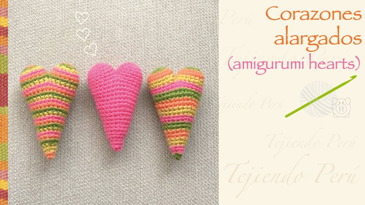Corazón alargado amigurumi crochet. English subtitles: amigurumi elongated heart!