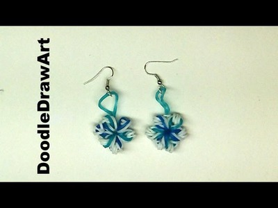 Craft:  Elastic Snowflake Earrings - rainbow loom earrings using crochet hook