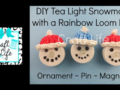 Craft Life DIY Tea Light Snowman Tutorial with a Hat made on a Rainbow Loom
