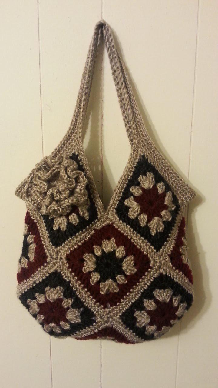#Crochet 13 square granny square Handbag Purse #TUTORIAL