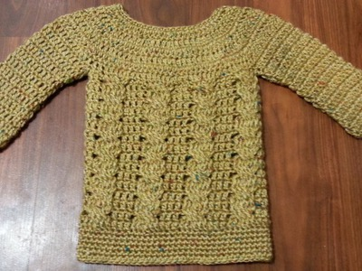 #Crochet Baby Cable Sweater Dress Jumper #TUTORIAL Crochet Infant