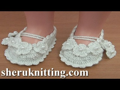 Crochet Christening Shoes Tutorial 36 Part 1 of 2 Sandalias en crochet para bebes
