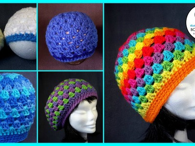 Crochet Granny Stitch Hat 5yr old. Adult Tutorial