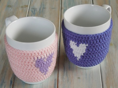 (crochet) How To Crochet a Heart Mug Warmer.Cup Cozy - Yarn Scrap Friday