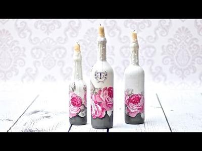 Decoupage świeczniki z butelek - DIY tutorial