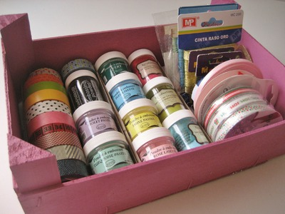 DIY Caja reciclada para materiales de manualidades.  Recycled craft box.