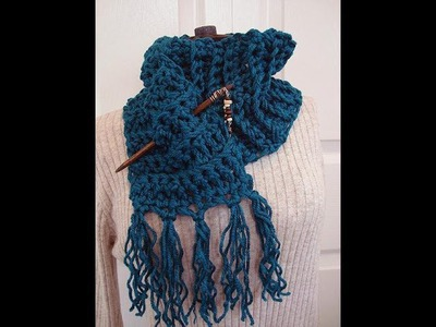 DIY CHUNKY CROCHET FRINGED SCARF, how to diy, free pattern