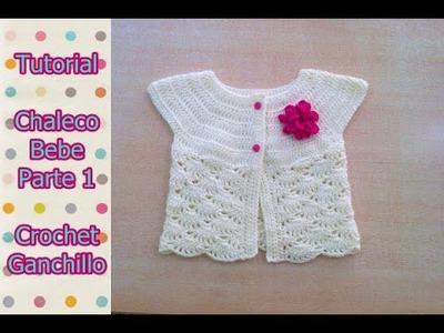 DIY Como tejer chaleco bolero para bebe niña con flor a crochet, ganchillo (1.2)