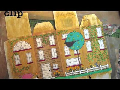 DIY Craft - How to Make Folk Art House from Recycled Box