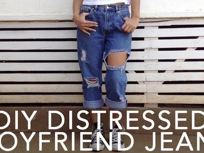 DIY Distressed.Destroyed Boyfriend Jeans Tutorial! | ShayBrit
