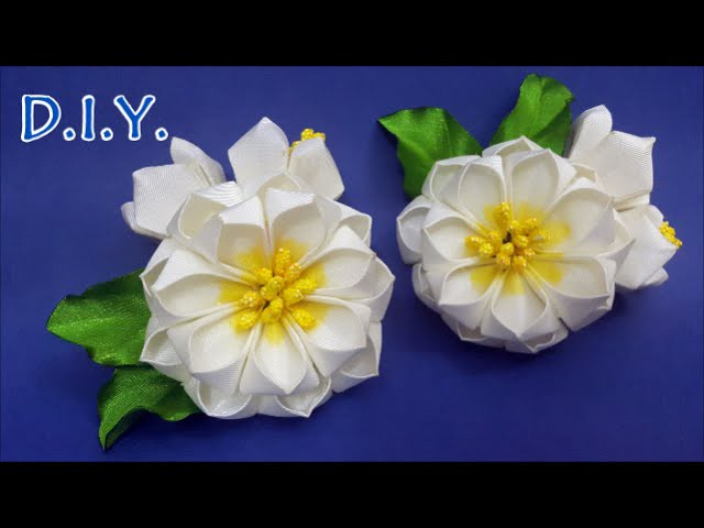 ✾ ❃ ❁ D.I.Y. GrosGrain Ribbon Kanzashi Flower - Tutorial ✾ ❃ ❁
