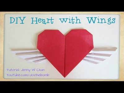 DIY How to Fold a Heart with Wings - Valentine's Day Crafts Tutorial - Origami Cupid Winged Heart