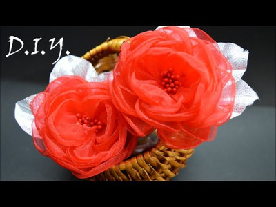 ❀ ♡ ❀ D.I.Y. Organza English Rose - Tutorial ❀ ♡ ❀