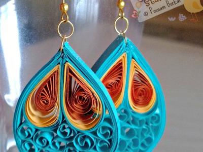 DIY - Quilled paper earrings, Paper quilling earrings tutorial