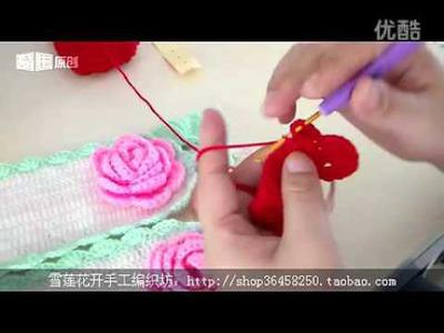 DIY rose butterflies red 編織 織冷衫 教學 頸巾 課程      玫瑰花 鉤花  Woolen knit knitting