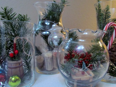 DIY Terrarium Holiday Glass Jar Vase Christmas Decoration Glass Craft  #14 Easy & Thrfity!