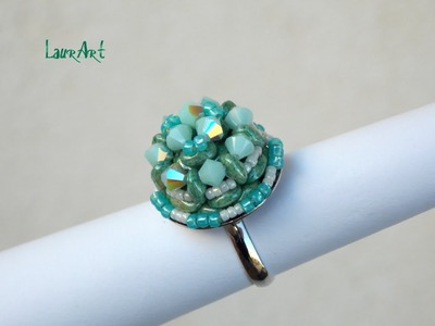 "DIY TUTORIAL: anello ""Ray of light"".""Ray of light"" ring (Simple beading work)"