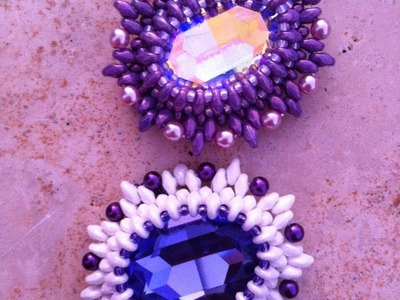 "DIY tutorial : incastonare un ovale Swarovski con superduo.twin : ""Edith Piaf"""
