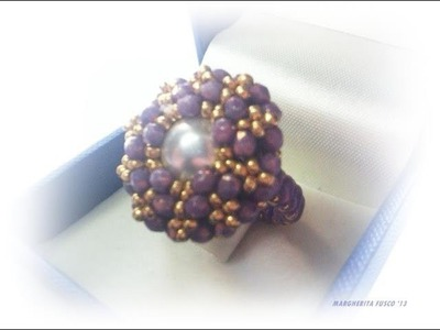 DIY video tutorial  anello Medea |Beadwork how to make a ring with seedbeads and crystals