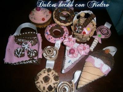 Dulces con Fieltro, Postres Paño lenci◕‿‿◕。・:*:・゚☆.Felt Sweets Crafts Tutorial