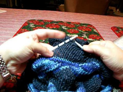 Free Knitting Video- How to Knit Through Short Rows In Lizard Ridge Pattern