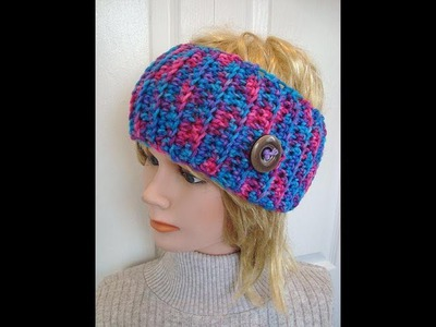 HEADBAND CROCHET PATTERN, ADULT SIZE, how to diy, Red Heart Bon Bon Print yarn