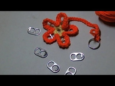How to Crochet a flower soda tab key ring- llavero crochet flor