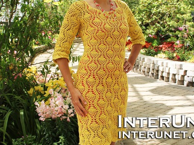 How to crochet a lace dress - pineapple stitch. Part 1 of 2.