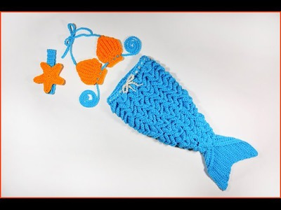 How to Crochet Baby Mermaid Outfit with Crocodile Stitch