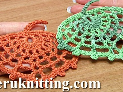 How to Crochet Spider Web Leaf Tutorial 15