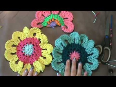 "How to Crochet the ""Flower Power Valance"". Video 2 of 2"