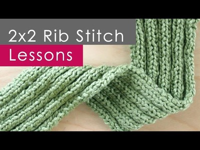 How to Knit 2x2 RIB Stitch (RIBBING): Knitting Lessons for Beginners
