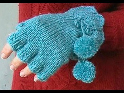 HOW TO KNIT FINGERLESS GLOVES - With individual fingers and lace cuff. Part 2 of 3