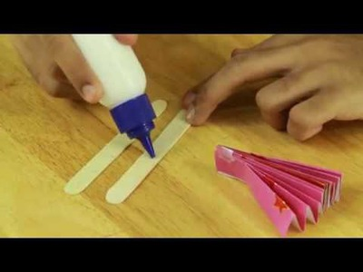 How to make a colorful hand fan - art and craft