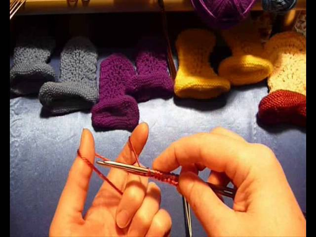 Как связать пинетки-сапожки спицами - 2. How to knit baby booties shoes - 2