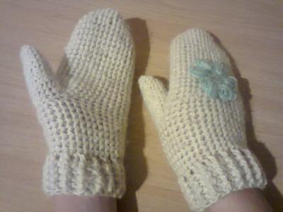 Как связать варежки крючком. How to link crochet mittens.