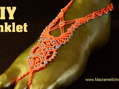 Macramé Barefoot Sandal Anklet with Beads [DIY] Tutorial