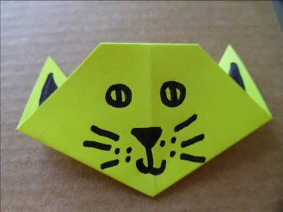 Origami Cat Head. Face - Halloween Crafts