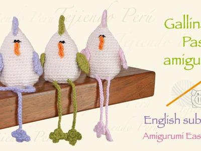Paso a paso gallina de pascua tejida a crochet amigurumi. English subtitles amgurumi easter hen