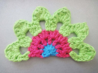 Половинка цветочного мотива Half Crochet flower motif