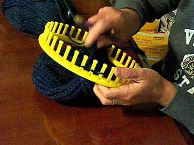 Worm Edging on a Loom Knit hat.