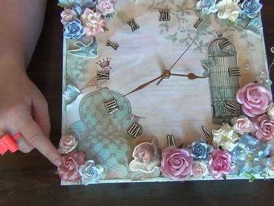 12 x 12  Shabby Chic Canvas Clock - WOC
