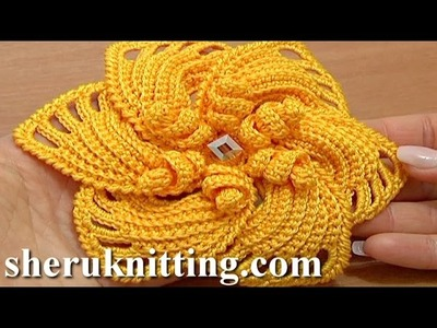 Crochet 6-Petal Flower Spirals In Center Tutorial 59 Part 2 of 2 Reverse Single Crochet Trim