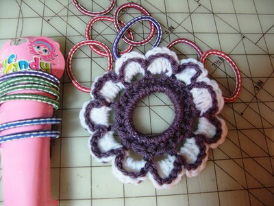 Crochet Flower pony tail holder rubber band