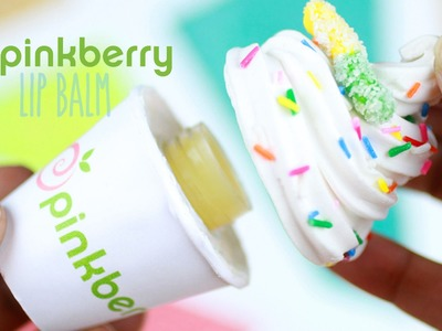 DIY Pinkberry Lip Gloss Jar - How To Make Beeswax Lip Balm Tutorial - Frozen Yogurt Polymer Clay