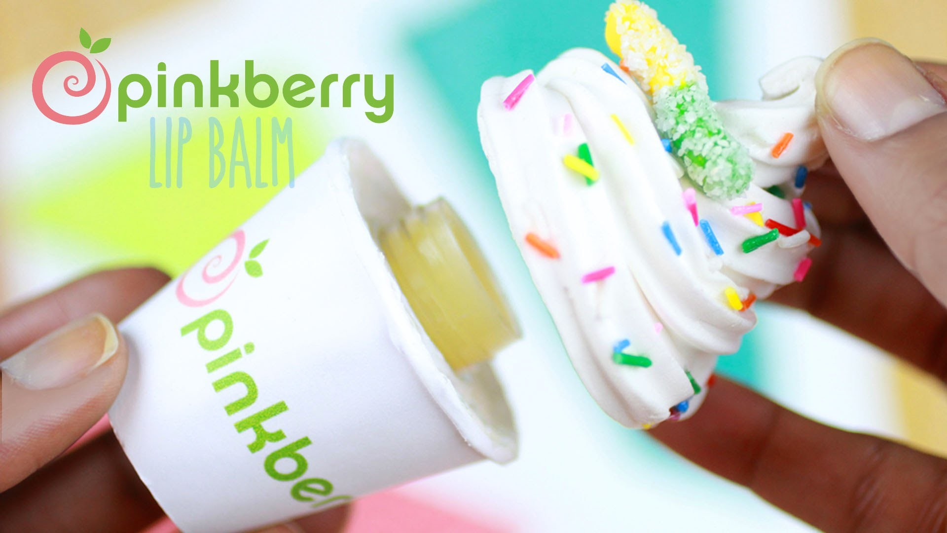 DIY Pinkberry Lip Gloss Jar - How To Make Beeswax Lip Balm Tutorial - Frozen Yogurt Polymer Clay
