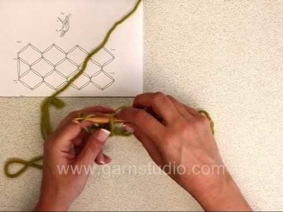 DROPS Crochet Tutorial: How to crochet a love knots square