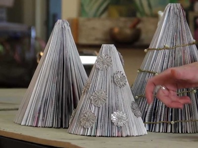 See how-to make re-cycled paper Christmas Trees